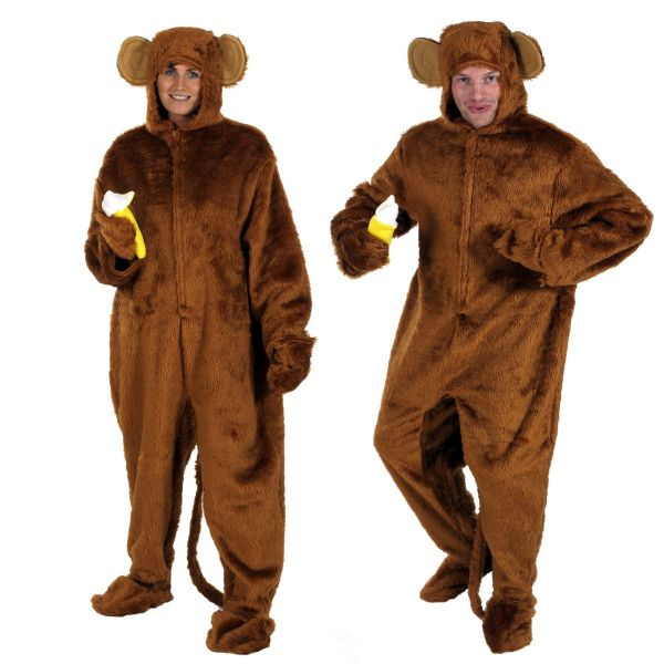 Adults Mens and Ladies Brown Fur Cheeky Monkey with Banana Fancy Dress Up Costume